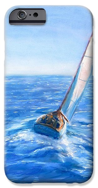 Sailboats Pastels iPhone Cases - Slip Away iPhone Case by Jack Skinner