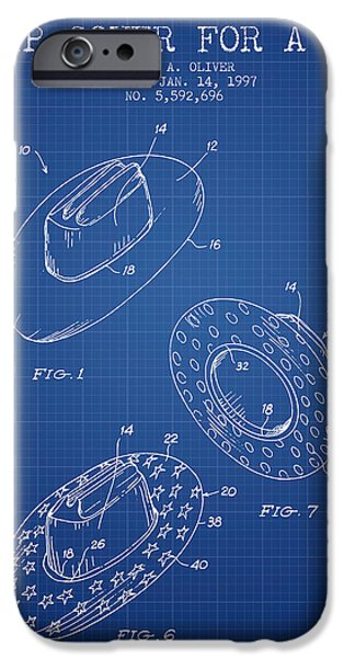 Hat Art iPhone Cases - Slip Cover for a a hat patent from 1997 - Blueprint iPhone Case by Aged Pixel