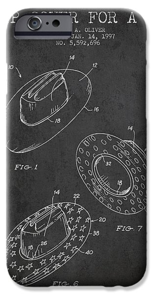 Hat Art iPhone Cases - Slip Cover for a a hat patent from 1997 - Charcoal iPhone Case by Aged Pixel