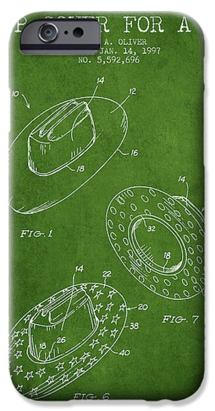 Hat Art iPhone Cases - Slip Cover for a a hat patent from 1997 - Green iPhone Case by Aged Pixel