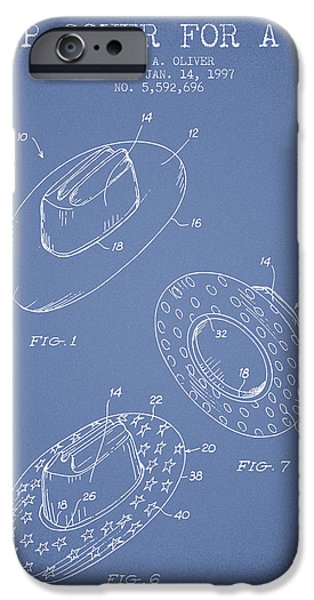 Hat Art iPhone Cases - Slip Cover for a a hat patent from 1997 - Light Blue iPhone Case by Aged Pixel