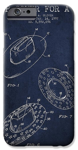 Hat Art iPhone Cases - Slip Cover for a a hat patent from 1997 - Navy Blue iPhone Case by Aged Pixel