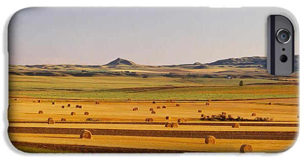 Hay Bales iPhone Cases - Slope Country Nd Usa iPhone Case by Panoramic Images