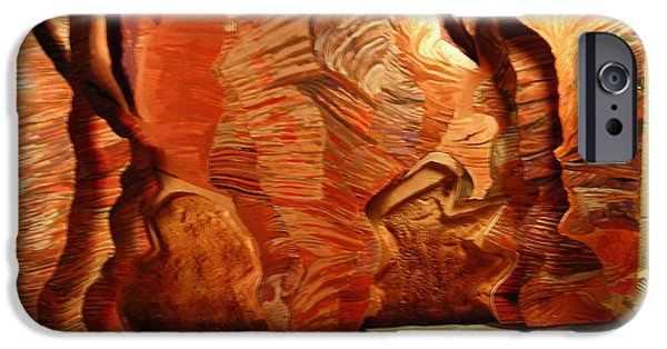 Landscapes Reliefs iPhone Cases - Slot Canyon 3D wall hanging iPhone Case by Mike Dendinger
