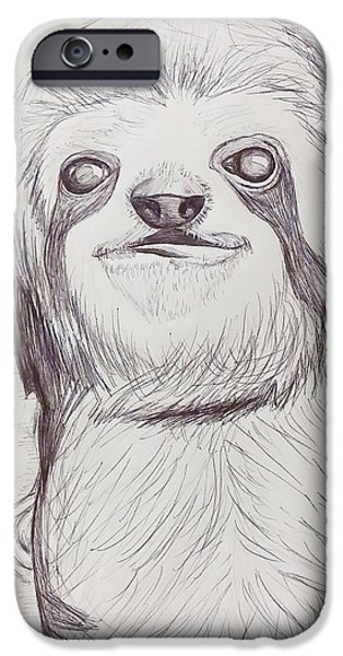 Sloth Drawings iPhone Cases - Sloth sketch iPhone Case by Ashley Adams