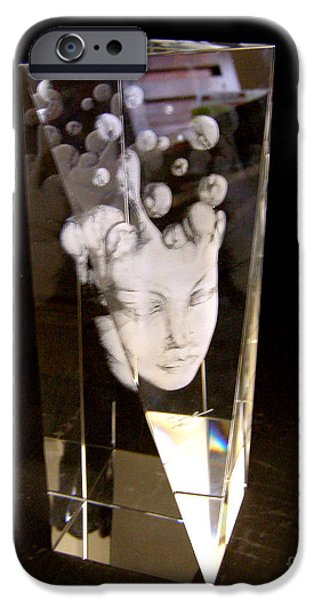 Surrealism Glass iPhone Cases - Slow Boil Crystal Sculpture 9 iPhone Case by Dia T