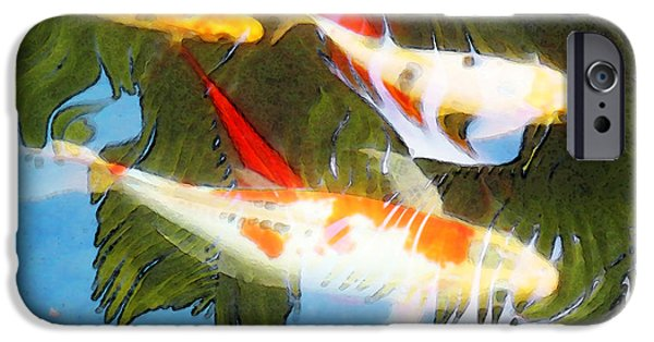 Fish Mixed Media iPhone Cases - Slow Drift - Colorful Koi Fish iPhone Case by Sharon Cummings