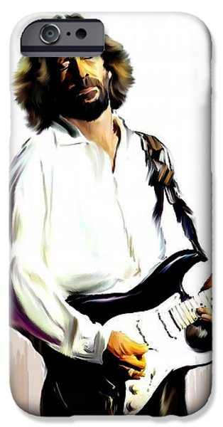 Legend iPhone Cases - Slow Hand  Eric Clapton iPhone Case by Iconic Images Art Gallery David Pucciarelli