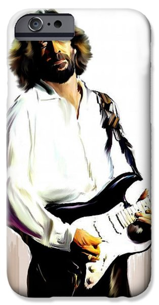Music Drawings iPhone Cases - Slow Hand VI  Eric Clapton iPhone Case by Iconic Images Art Gallery David Pucciarelli