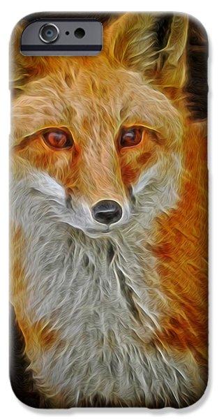 Fox Digital iPhone Cases - Sly Fox 2 iPhone Case by Ernie Echols