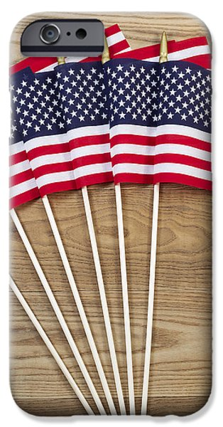 Small American Flags on Aged Wood  iPhone Case by Tom  Baker