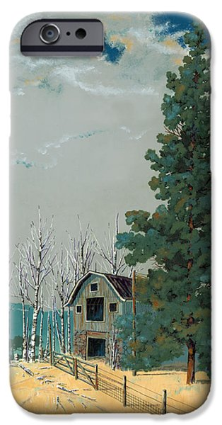 Pines Paintings iPhone Cases - Small Barn Big Pine iPhone Case by John Wyckoff