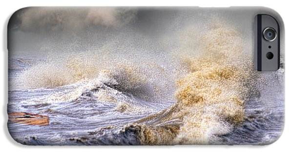 Power iPhone Cases - Small Boat In Storm iPhone Case by Panoramic Images