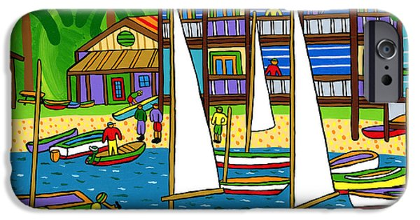 Recently Sold -  - Sailboats iPhone Cases - Small Boat Regatta - Cedar Key iPhone Case by Mike Segal