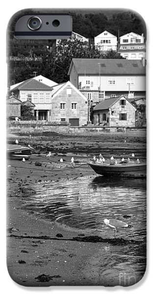 Seagull iPhone Cases - Small boats and seagulls in Galicia BW iPhone Case by RicardMN Photography