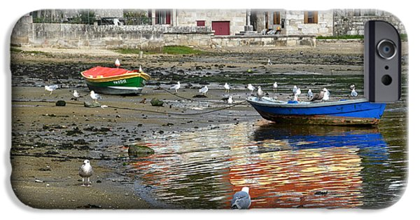 Seagull iPhone Cases - Small boats and seagulls in Galicia iPhone Case by RicardMN Photography