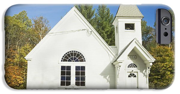 Fall iPhone Cases - Small Country Church In Fall Maine iPhone Case by Keith Webber Jr