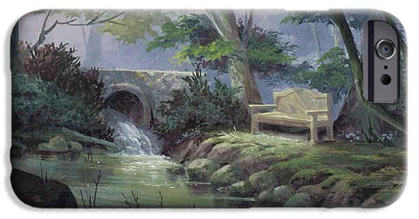 Michael Paintings iPhone Cases - Small Falls Descanso iPhone Case by Michael Humphries