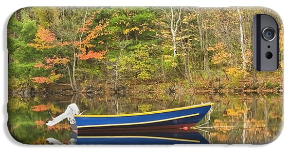 Northeast iPhone Cases - Small Motor Boat in Fall Torsey Pond Readfield Maine iPhone Case by Keith Webber Jr