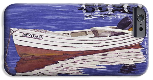 Maine Seascapes iPhone Cases - Small Motor Boat in Maine Harbor  iPhone Case by Keith Webber Jr