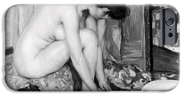 Bathing iPhone Cases - SMALL NUDE painting by Albert Worcester c. 1910 iPhone Case by Daniel Hagerman