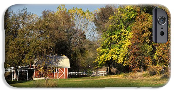 Shed iPhone Cases - Small Pasture With Fall Colors iPhone Case by Jim Thompson