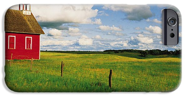 Meadow Photographs iPhone Cases - Small Red Schoolhouse, Battle Lake iPhone Case by Panoramic Images