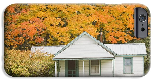 House iPhone Cases - Small Sporting Camp In Fall Mountains Of Maine iPhone Case by Keith Webber Jr