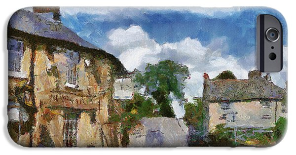 Old Town Digital iPhone Cases - Small Town Street iPhone Case by Ayse Deniz