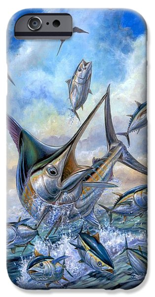 Marlin Azul iPhone Cases - Small Tuna And Blue Marlin Jumping iPhone Case by Terry Fox