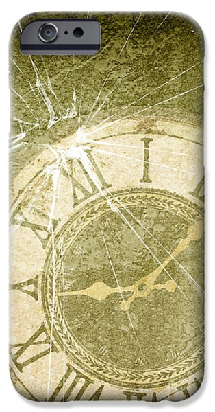 Broken iPhone Cases - Smashed Clock Face iPhone Case by Amanda And Christopher Elwell