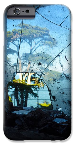 Alcatraz Pyrography iPhone Cases - Smashed Glass - Alcatraz iPhone Case by Fabien White