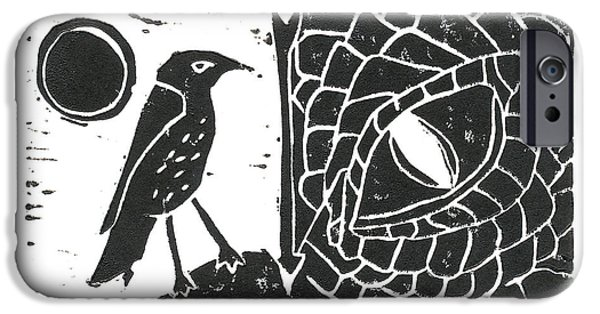 Lino Cut iPhone Cases - Smaug and the Thrush iPhone Case by Lynn-Marie Gildersleeve