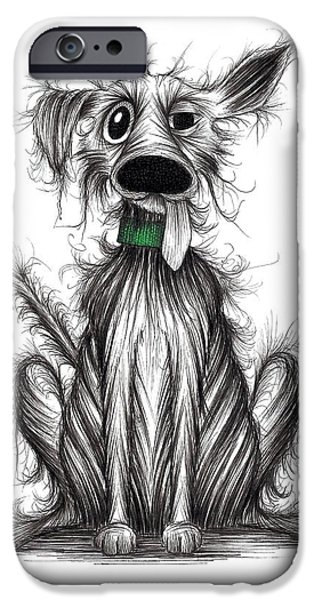 Dirty Drawings iPhone Cases - Smelly dog iPhone Case by Keith Mills