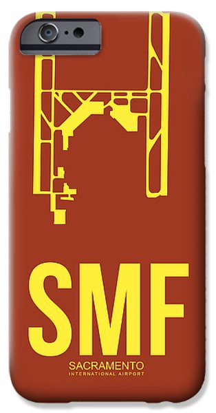 Town iPhone Cases - SMF Sacramento Airport Poster 1 iPhone Case by Naxart Studio
