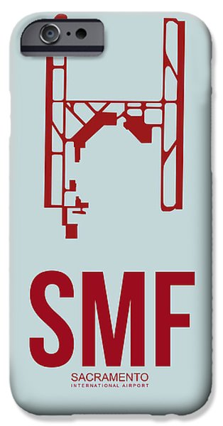 Town iPhone Cases - SMF Sacramento Airport Poster 2 iPhone Case by Naxart Studio