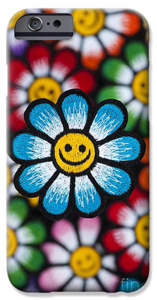 Sew iPhone Cases - Smile Flowers iPhone Case by Tim Gainey