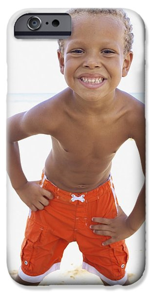 Youthful iPhone Cases - Smiling Boy on Beach iPhone Case by Kicka Witte