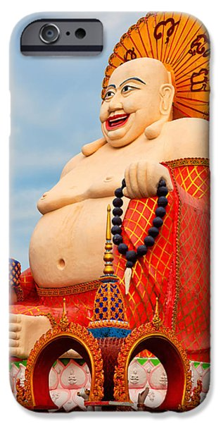 Buddhist iPhone Cases - smiling Buddha iPhone Case by Adrian Evans