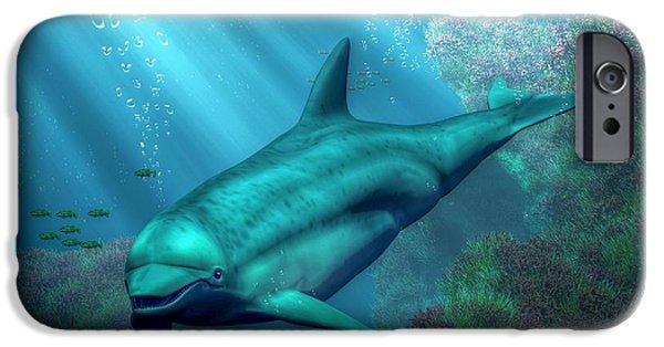 Dolphin Digital iPhone Cases - Smiling Dolphin iPhone Case by Daniel Eskridge