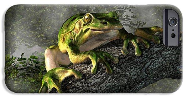 Amphibians Digital Art iPhone Cases - Smiling Frog iPhone Case by Daniel Eskridge