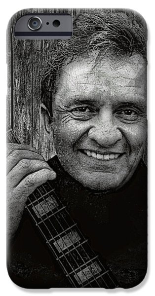 Carter iPhone Cases - Smiling Johnny Cash iPhone Case by Daniel Hagerman
