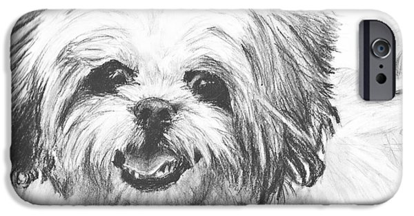Dog Close-up Drawings iPhone Cases - Smiling Shih Tzu iPhone Case by Kate Sumners