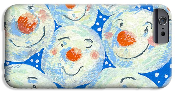 Snowball iPhone Cases - Smiling Snowballs, 2011 Gouache On Paper iPhone Case by David Cooke