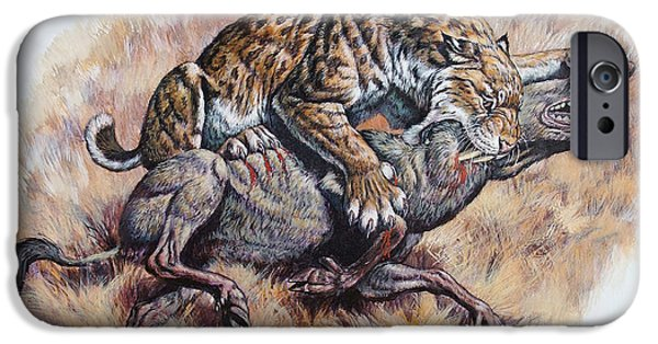 Food Paining iPhone Cases - Smilodon Dirk Sabertooth Killing iPhone Case by Mark Hallett