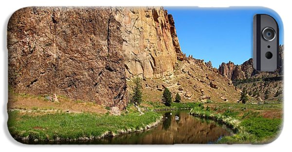 Ledge iPhone Cases - Smith Rock State Park 4 iPhone Case by Lynn Hopwood