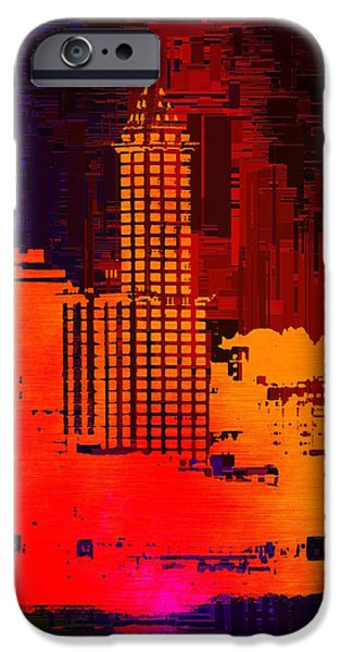 Red Abstract iPhone Cases - Smith  Tower Cubed iPhone Case by Tim Allen