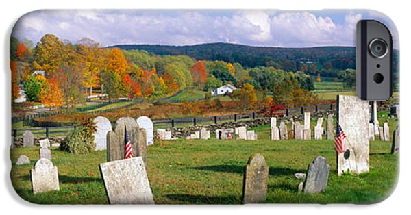 Headstones iPhone Cases - Smithfield Cemetery And Farms iPhone Case by Panoramic Images
