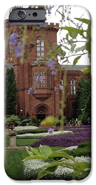 Smithsonian iPhone Cases - Smithsonian Castle in Summer iPhone Case by Lois Ivancin Tavaf