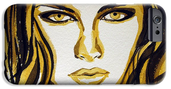 Raw Sienna iPhone Cases - Smokey Eyes woman portrait iPhone Case by Patricia Awapara